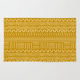 Mud Cloth on Mustard Rug