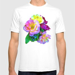 Rosa Yellow Roses on Black T-shirt