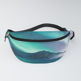 Aurora boralis - polar lights - illustration of admiration of the wonderful landscape with mountains, sky and sea. Fanny Pack