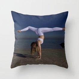 Yoga on the beach Throw Pillow