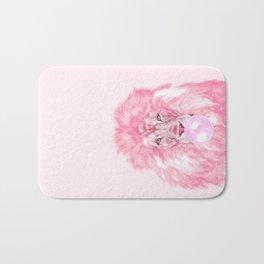 Lion Chewing Bubble Gum in Pink Bath Mat