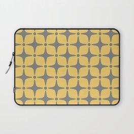 Mid Century Modern Star Pattern Yellow and Gray Laptop Sleeve
