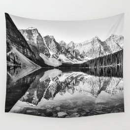 Moraine Lake Reflection Black and White Wall Tapestry