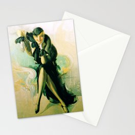 """""""Flapper with Black Fur"""" Pinup by Rolf Armstrong Stationery Cards"""