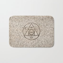 Philosopher's stone symbol and Alchemical  pattern #3 Bath Mat