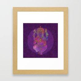 Ganesha hindu god watercolor gold purple art Framed Art Print