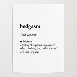 Bedgasm black and white contemporary minimalism typography design home wall decor bedroom Poster