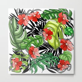 Tropical Flower Pattern - Green and Red Version Metal Print