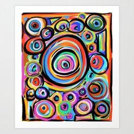 Rings of Color, Water Drop Patterns, Colorful Raindrops Art Print