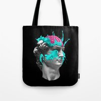 dave matthews Tote Bags featuring Dave Brain by Julien Missaire | CORSAC