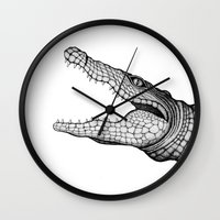 crocodile Wall Clocks featuring Crocodile by Hannighan