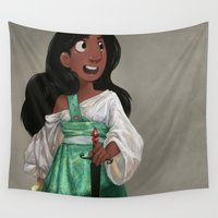sword Wall Tapestries featuring Sword Fighter Connie v2 by Ravenno
