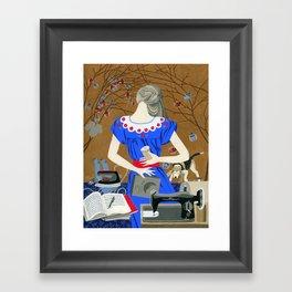 Lady in a blue dress Framed Art Print