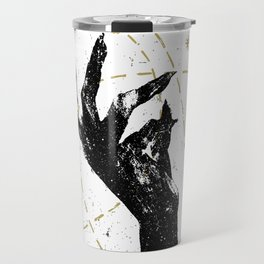 Black witch`s hand with cosmos illustration on white textured ba Travel Mug