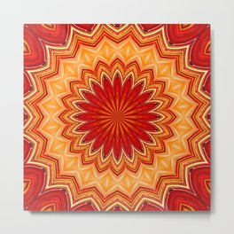 RED STAR MANDALA Metal Print