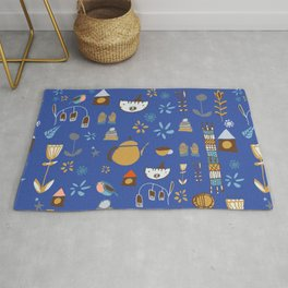hygge cat and bird blue Rug