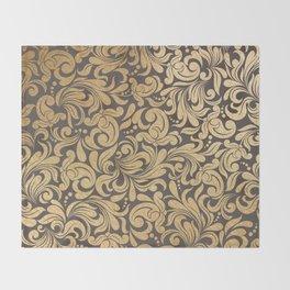 Gold foil swirls damask #11 Throw Blanket