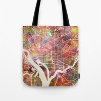 washington Tote Bags featuring Washington by MapMapMaps.Watercolors