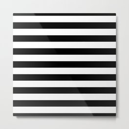 Large Black and White Horizontal Cabana Stripe Metal Print