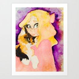 Mae and Button Art Print