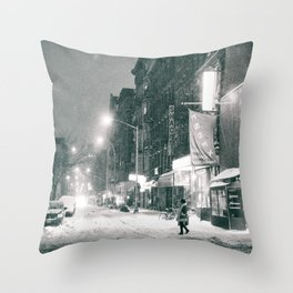 New York City - Night in the Winter - Lower East Side Throw Pillow