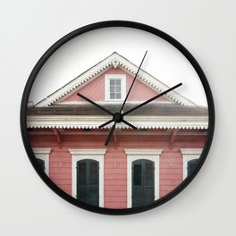 Pink House in Nola Wall Clock