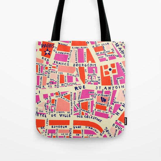 paris map pink by hollizollinger