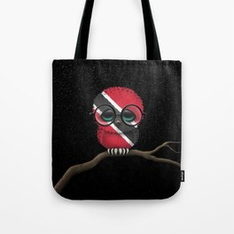Baby Owl with Glasses and Trinidadian Flag Tote Bag