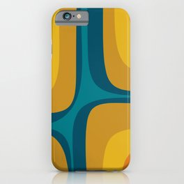 Retro Groove Mustard Teal - Minimalist Mid Century Abstract Pattern iPhone Case