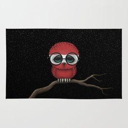 Baby Owl with Glasses and Latvian Flag Rug