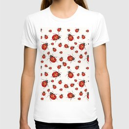 LOVING RED LADY BUGS  ON WHITE COLOR DESIGN ART T-shirt