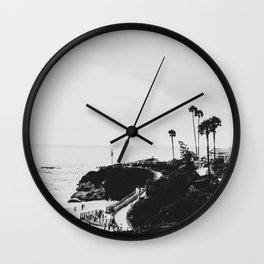 Laguna Beach | LoFi Black and White Relaxed Aesthetic Pink Sunset Palm Trees Hippie Ocean Waves Wall Clock