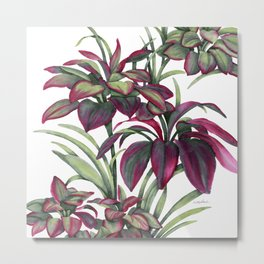 Tropical Leaves Sing Metal Print