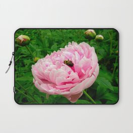 Bumble Bee on a Pink Peony Laptop Sleeve