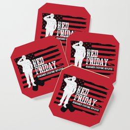 Red Friday American Flag Military Soldier Coaster