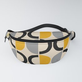 Mid Century Modern Half Circle Pattern 547 Beige Black Gray and Yellow Fanny Pack