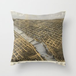 Aerial View of Grand Rapids, Michigan (1868) Throw Pillow