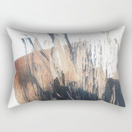 Clarity: a pretty, minimal abstract in rose gold and deep blue Rectangular Pillow