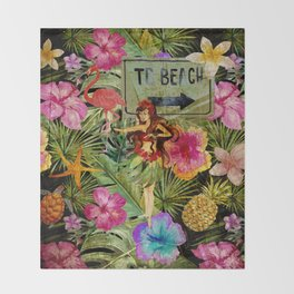 Tropical Vintage Exotic Jungle Beach Party on #Society6 Throw Blanket