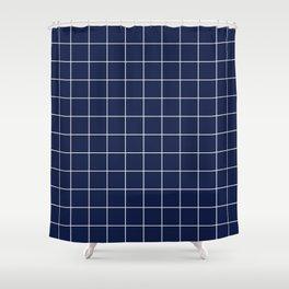 Navy Blue Grid Lines Minimal Shower Curtain