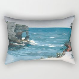 Winslow Homer - Rocky Shore, Bermuda, 1900 Rectangular Pillow