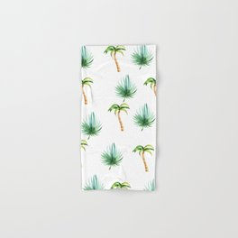 Hand painted green brown watercolor tropical pattern Hand & Bath Towel