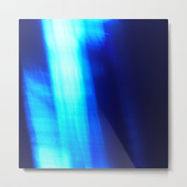 Abstract Cobalt Blue Glass with Bright Fracture photo close-up Metal Print