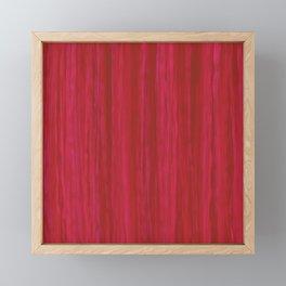 Strawberry Colored Vertical Stripes Framed Mini Art Print