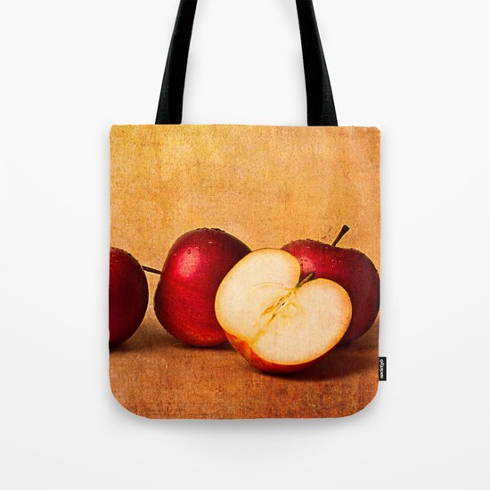 Apples In Red Panorama Tote Bag