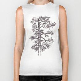 Black ink pine tree Biker Tank