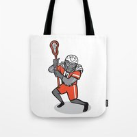 lacrosse Tote Bags featuring Gorilla Lacrosse Player Cartoon by patrimonio
