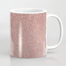 Girly Glam Pink Rose Gold Foil and Glitter Mesh Coffee Mug