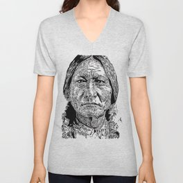 Sitting Bull Portrait Unisex V-Neck