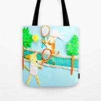 tennis Tote Bags featuring Tennis by Tessa Killingbeck